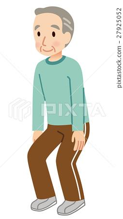 老人 蹲坐 弯曲和伸展 27925052