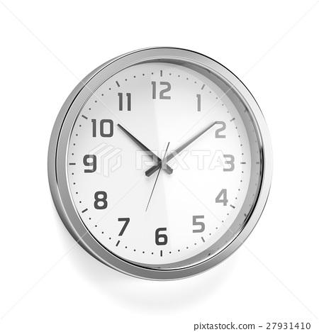 Silver shiny clock at the wall 27931410