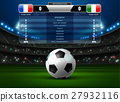 soccer football stadium spotlight and scoreboard 27932116