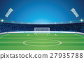 Empty Backdrop Template with Soccer Field Stadium 27935788