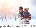 Winter couple. Happy Couple Having Fun Outdoors 27936370