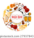 Banner with string and brass music instruments 27937843