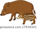 Cartoon wild boar and piglet 27938301