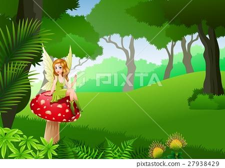 Little fairy sitting on mushroom   27938429