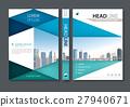 Blue green flyer design template vector. 27940671