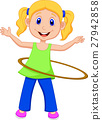 Cute girl twirling hula hoop 27942858