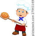 Illustration of a baker with bread 27943149