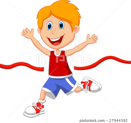 Boy ran to the finish line first 27944392