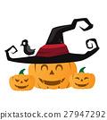 Halloween pumpkin with black witches hat.  27947292
