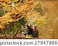 Foreign women and Japanese women making autumn leaves 27947866