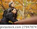 做叶子叶子的外国妇女和日本妇女的观察台 27947874