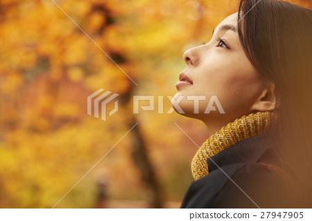 享用秋葉的婦女 27947905