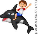 Boy riding orca 27947973
