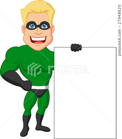 Superhero cartoon with blank sign 27948620