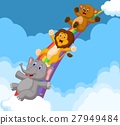 Illustration of Animals Sliding Down a Rainbow 27949484