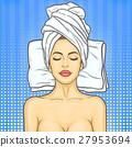 Pop art beautiful woman in spa environment 27953694