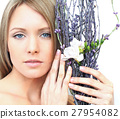 woman, face, flower 27954082