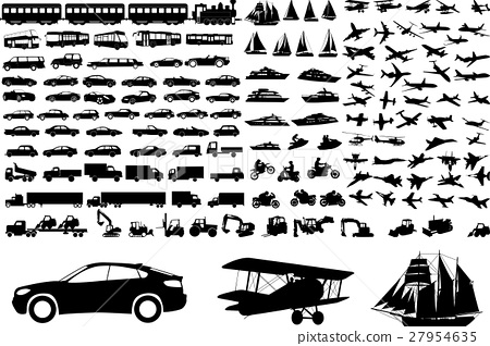 Transportation silhouettes collection 27954635