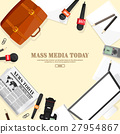 Mass media background in a flat style.Press 27954867