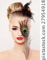Beautiful Model Woman with Makeup. Face Closeup 27954918
