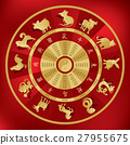 Chinese zodiac wheel with twelve animals 27955675