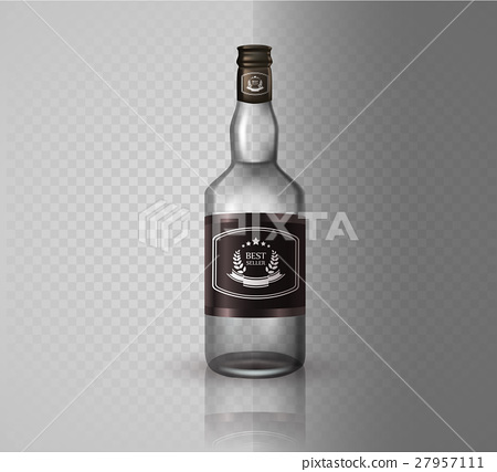 Glass brandy  bottle with screw cap, isolated o 27957111