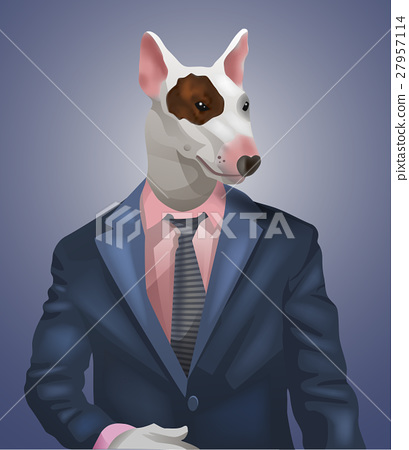 man with bullterrier head 27957114