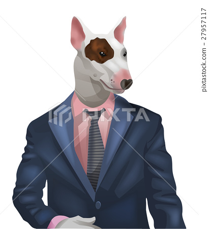 man with bullterrier head 27957117