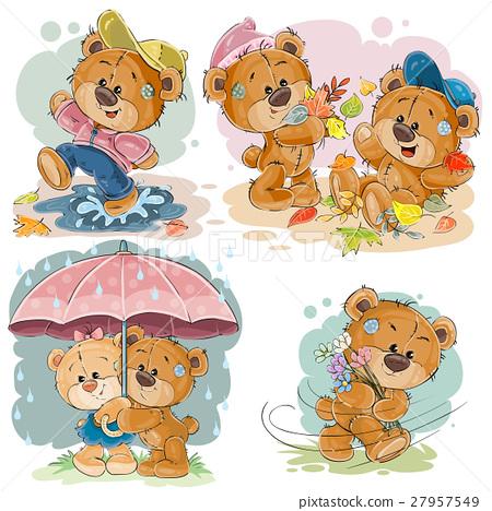 Set vector clip art illustrations of funny teddy 27957549