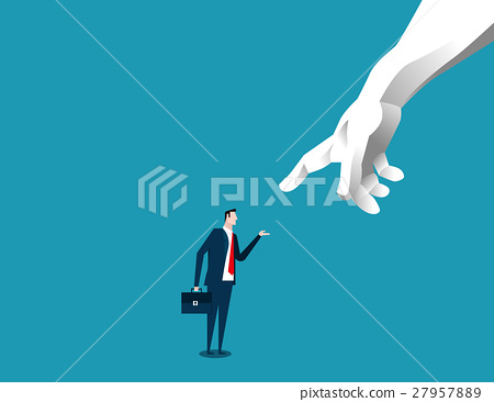 Businessman chosen by a giant pointing hand 27957889