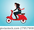 Woman driving a Scooter. Concept holiday  27957908
