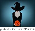 Woman in witch costume opens carved Halloween 27957914
