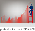 Businessman on ladder drawing charts and arrows  27957920