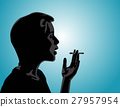 silhouette of a man smoking. Concept people 27957954