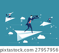 Businessman standing on the paper plane 27957956
