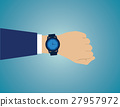 Wristwatch on the hand of businessman in suit 27957972