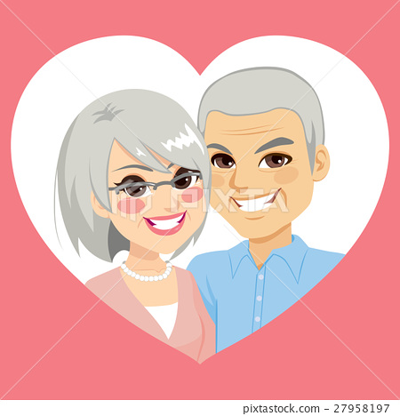 Senior Valentine Married Couple Heart 27958197