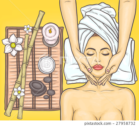 Pop art beautiful woman in the spa salon 27958732
