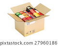 Opened cardboard box with language books 27960186