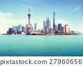 Shanghai skyline in sunny day, China 27960656