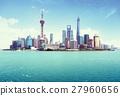 Shanghai skyline in sunny day, China 27960656