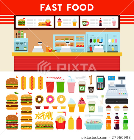 Fast food counter with menu sign. 27960998