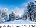 Winter forest with cloudy blue sky 27961268