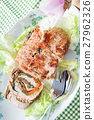 Turkey Roll On Plate With Lettuce 27962326