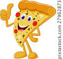 Happy pizza cartoon with thumb up 27962873