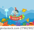 illustration of a kids in the submarine 27962902
