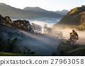 misty morning sunrise in strawberry garden  27963058