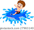 Boy playing with swimming toy 27963140