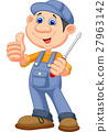 Cute mechanic cartoon holding a screwdriver  27963142