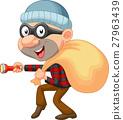 Thief cartoon with sack of money 27963439